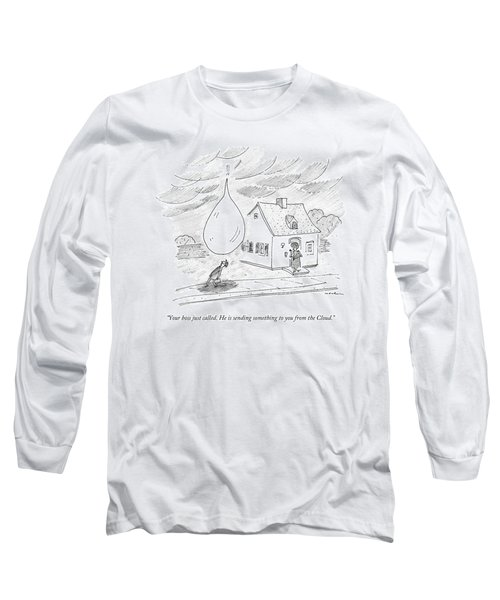 An Enormous Rain Drop Falls Out Of The Sky Onto Long Sleeve T-Shirt