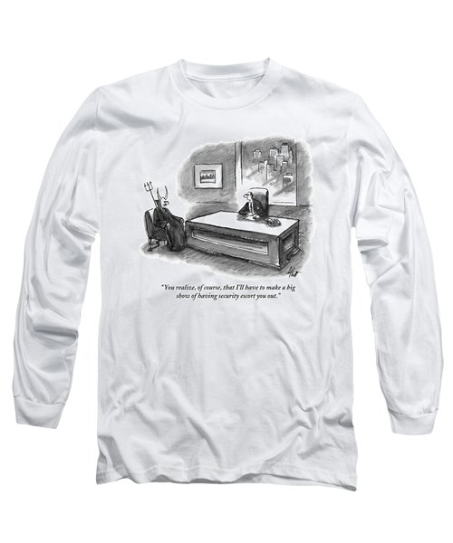 An Executive Sitting At A Desk Is Speaking Long Sleeve T-Shirt