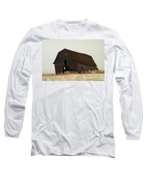 An Old Leaning Barn In North Dakota Long Sleeve T-Shirt