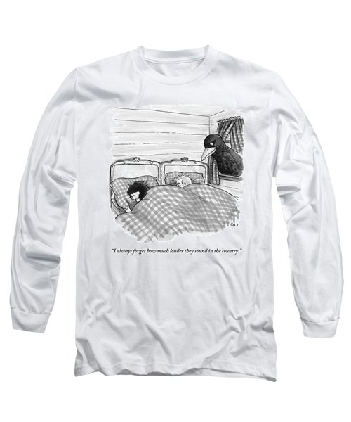 An Overly Large Bird Peers Into The Bedroom Long Sleeve T-Shirt
