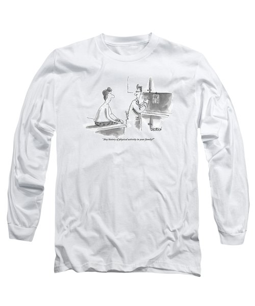 An Overweight Man Sits In His Underwear Long Sleeve T-Shirt
