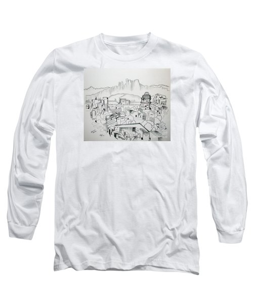 Long Sleeve T-Shirt featuring the drawing Ancient City In Pen And Ink by Janice Rae Pariza