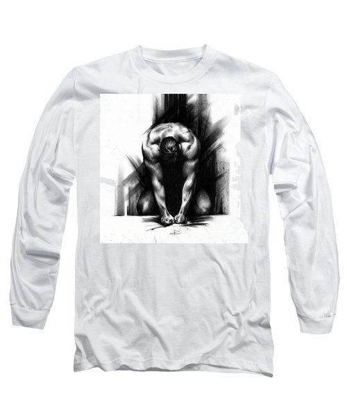 Long Sleeve T-Shirt featuring the drawing Anger by Paul Davenport