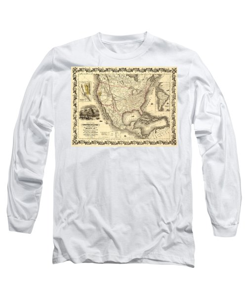 Antique North America Map Long Sleeve T-Shirt