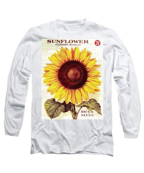 Long Sleeve T-Shirt featuring the painting Antique Sunflower Seeds Pack by Peter Gumaer Ogden
