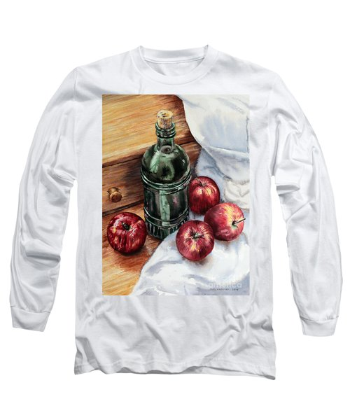 Long Sleeve T-Shirt featuring the painting Apples And A Bottle Of Liqueur by Joey Agbayani