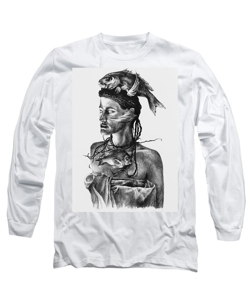 Aqua Long Sleeve T-Shirt by Yvonne Wright