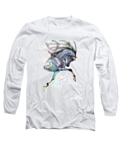Arabian Horse Trotting In Air Long Sleeve T-Shirt