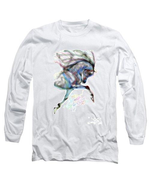 Arabian Horse Trotting In Air Long Sleeve T-Shirt