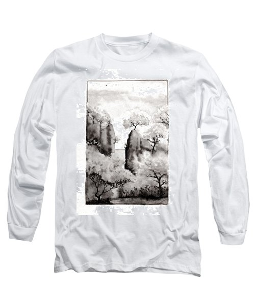 Long Sleeve T-Shirt featuring the painting Arbres Separes by Marc Philippe Joly