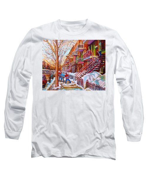 Art Of Montreal Staircases In Winter Street Hockey Game City Streetscenes By Carole Spandau Long Sleeve T-Shirt