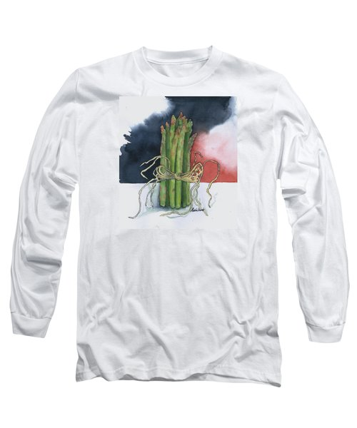 Asparagus In Raffia Long Sleeve T-Shirt by Maria Hunt