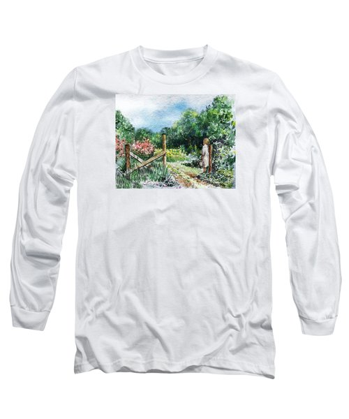 Long Sleeve T-Shirt featuring the painting At The Gate Summer Landscape by Irina Sztukowski