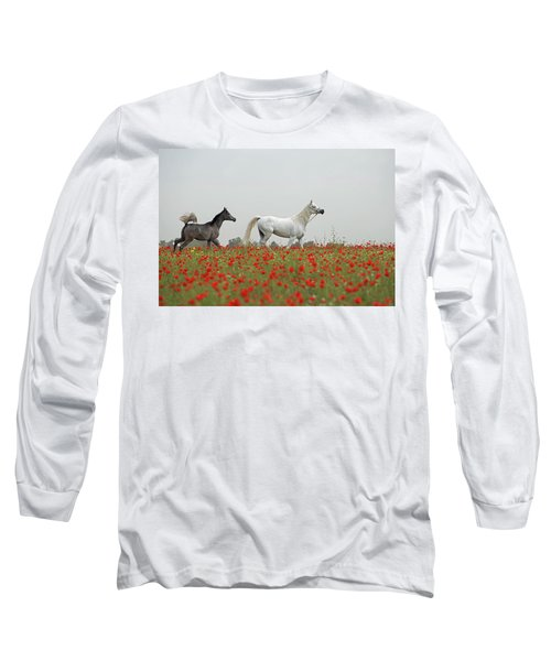 Long Sleeve T-Shirt featuring the photograph At The Poppies' Field... 2 by Dubi Roman
