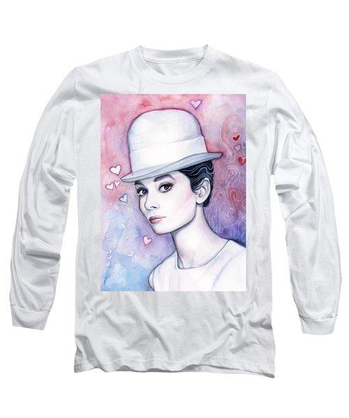 Audrey Hepburn Fashion Watercolor Long Sleeve T-Shirt by Olga Shvartsur