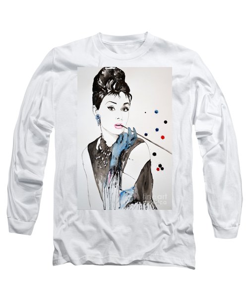 Long Sleeve T-Shirt featuring the painting Audrey Hepburn by Ismeta Gruenwald