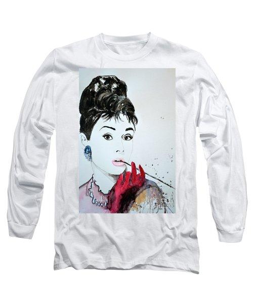 Long Sleeve T-Shirt featuring the painting Audrey Hepburn - Original by Ismeta Gruenwald