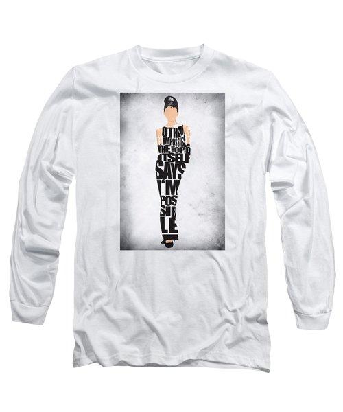 Audrey Hepburn Typography Poster Long Sleeve T-Shirt by Ayse Deniz