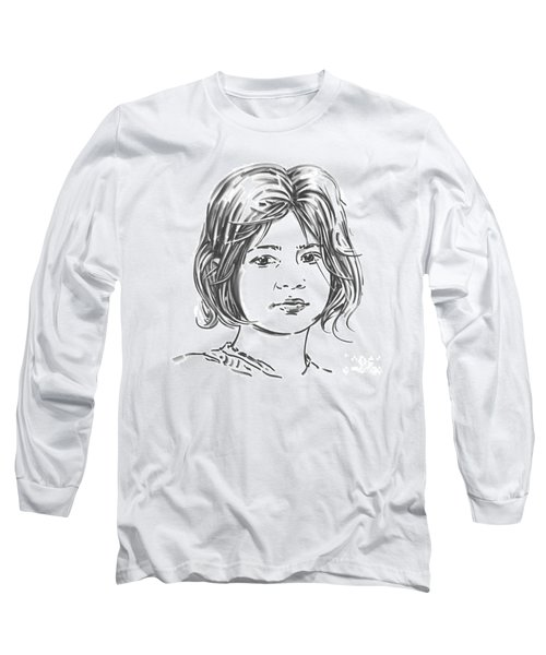 Long Sleeve T-Shirt featuring the drawing Audrey by Olimpia - Hinamatsuri Barbu