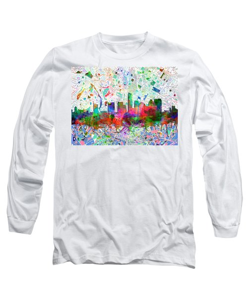 Austin Texas Abstract Panorama 7 Long Sleeve T-Shirt by Bekim Art