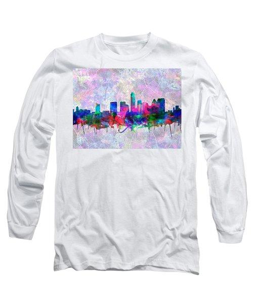 Austin Texas Skyline Watercolor 2 Long Sleeve T-Shirt by Bekim Art