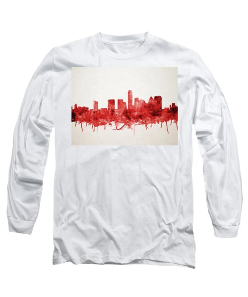 Austin Texas Skyline Watercolor 4 Long Sleeve T-Shirt