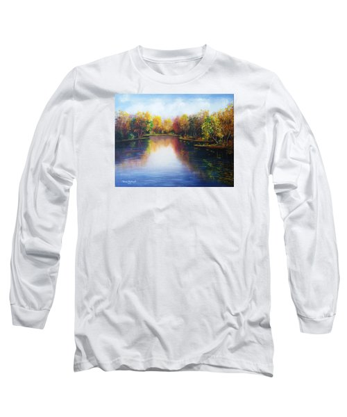 Long Sleeve T-Shirt featuring the painting Autumn Reflections  by Vesna Martinjak