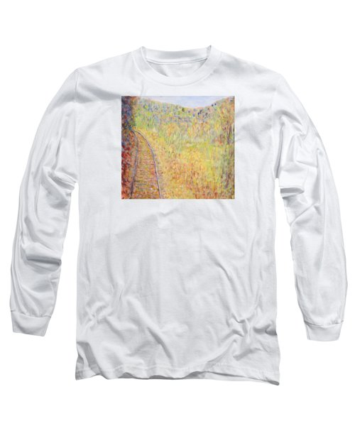 Autumns Maple Leaves And Train Tracks Long Sleeve T-Shirt