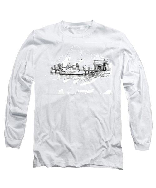 Awaiting Bluefish Run Ocracoke Nc 1970s Long Sleeve T-Shirt