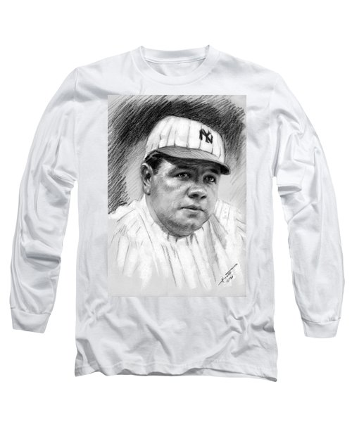 Long Sleeve T-Shirt featuring the drawing Babe Ruth by Viola El