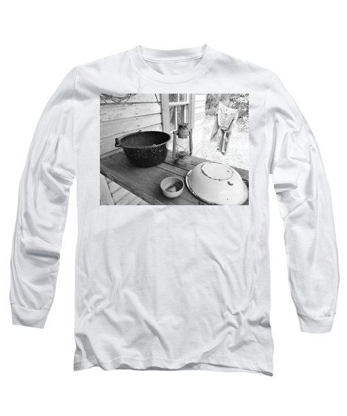 Back In Time B - W Long Sleeve T-Shirt by D Hackett