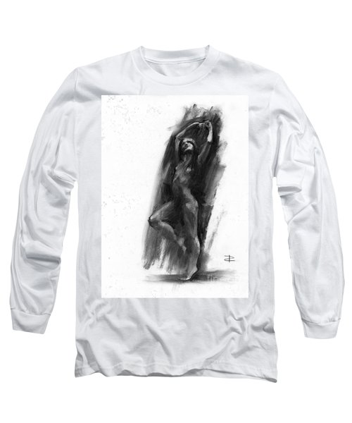 Long Sleeve T-Shirt featuring the drawing A Dance Of Balance by Paul Davenport