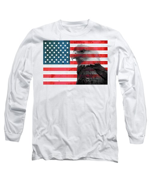 Bald Eagle American Flag Long Sleeve T-Shirt by Dan Sproul