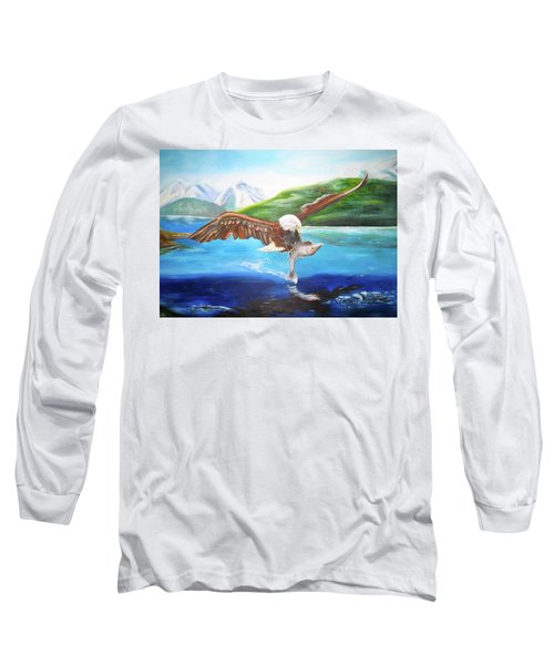Bald Eagle Having Dinner Long Sleeve T-Shirt by Thomas J Herring