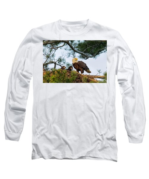 Bald Eagle With Eaglets  Long Sleeve T-Shirt by Everet Regal