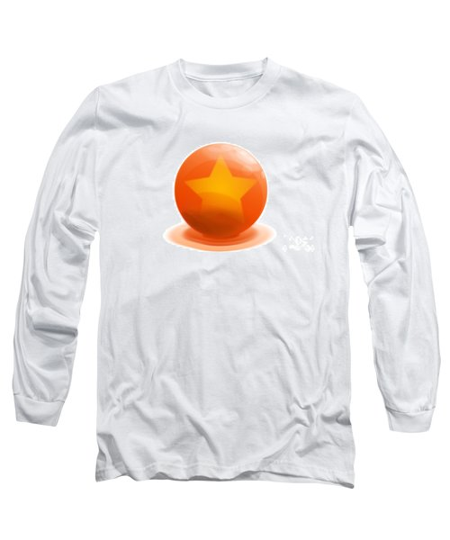 Long Sleeve T-Shirt featuring the sculpture orange Ball decorated with star white background by R Muirhead Art