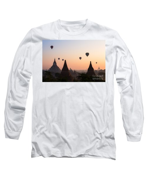 Ballons Over The Temples Of Bagan At Sunrise - Myanmar Long Sleeve T-Shirt