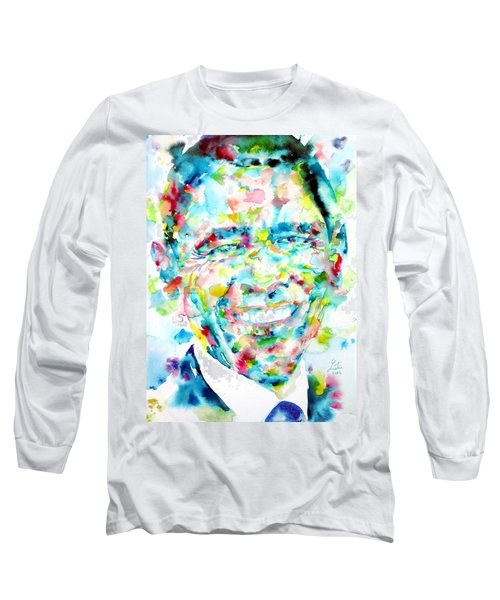 Barack Obama - Watercolor Portrait Long Sleeve T-Shirt by Fabrizio Cassetta