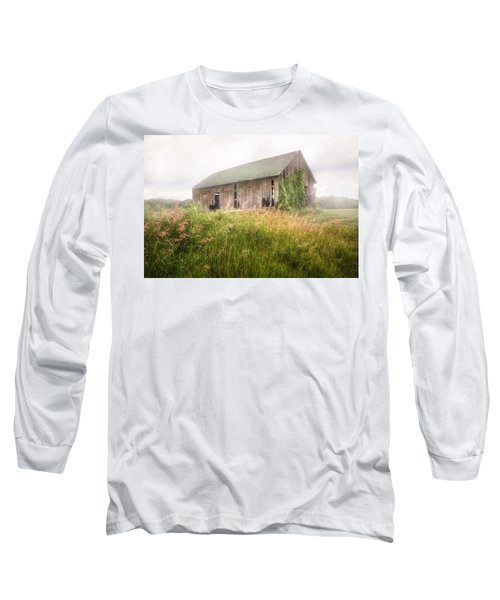 Long Sleeve T-Shirt featuring the photograph Barn In A Misty Field by Gary Heller