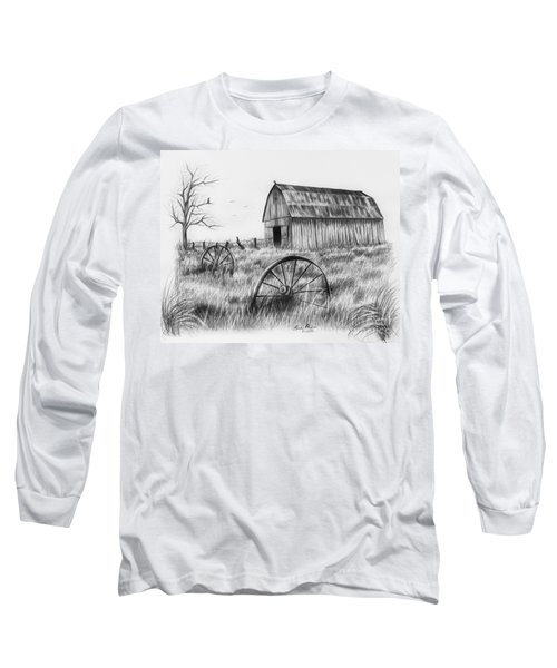 Barn With Crows Long Sleeve T-Shirt by Lena Auxier