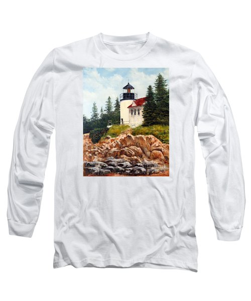 Long Sleeve T-Shirt featuring the painting Bass Harbor Head Light by Lee Piper