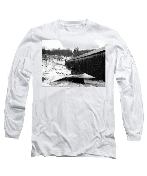 Bath Covered Bridge Long Sleeve T-Shirt by Barbara Bardzik