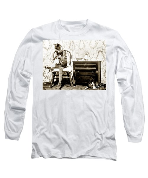 Long Sleeve T-Shirt featuring the photograph Bath Time For Kitty Circa 1900 Historical Photos by California Views Mr Pat Hathaway Archives