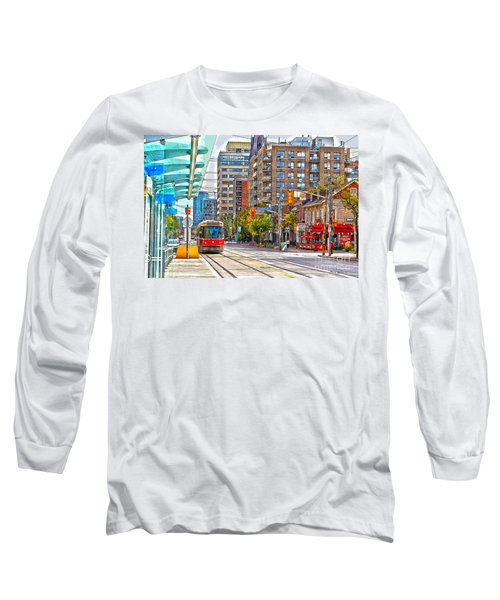 Bathurst Street Car Coming North To Queen Street Long Sleeve T-Shirt by Nina Silver