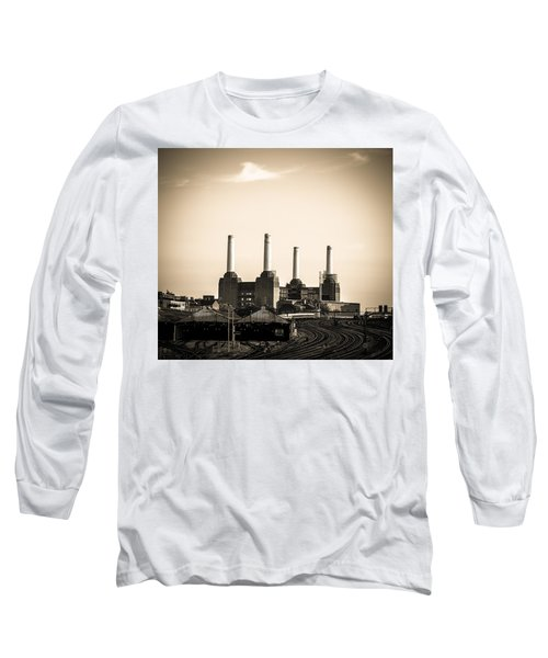 Battersea Power Station With Train Tracks Long Sleeve T-Shirt