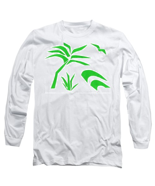 Long Sleeve T-Shirt featuring the mixed media Beach by Delin Colon
