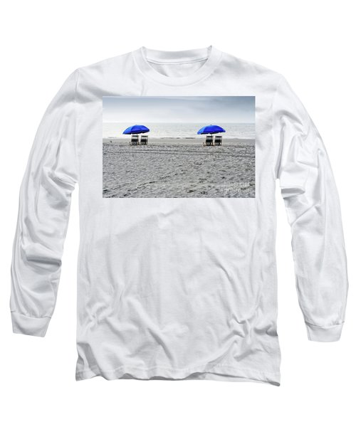 Beach Umbrellas On A Cloudy Day Long Sleeve T-Shirt