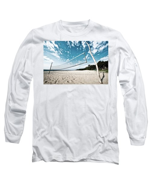 Long Sleeve T-Shirt featuring the photograph Beach Volleyball Net by Yew Kwang