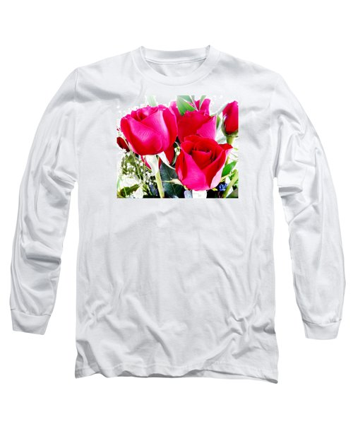 Beautiful Neon Red Roses Long Sleeve T-Shirt