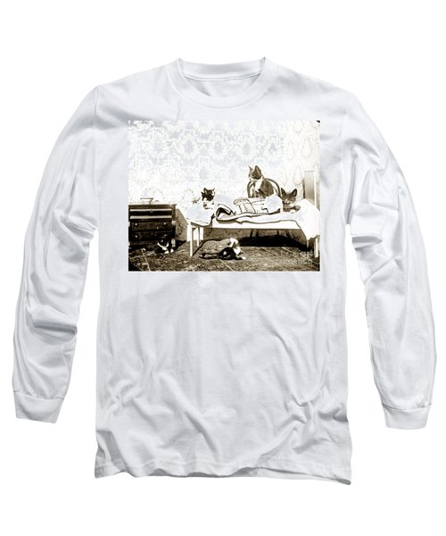 Long Sleeve T-Shirt featuring the photograph Bed Time For Kitty Cats Histrica Photo Circa 1900 by California Views Mr Pat Hathaway Archives